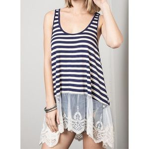 New Umgee Navy Blue Striped Lace Tunic Tank Top S
